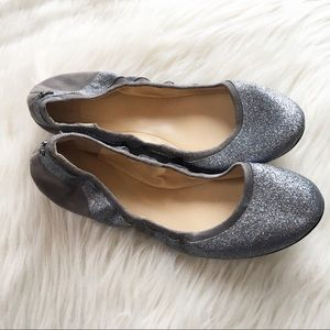 Cole Haan Avery glitter silver ballet flat shoes